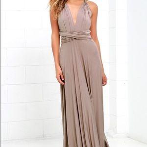 Lulu's Maxi, Versatile, Bridesmaid Dress Taupe